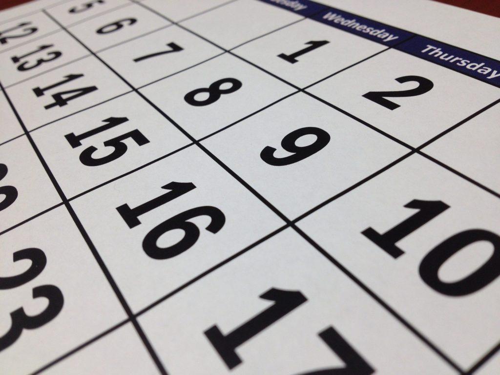 dias da semana em inglês